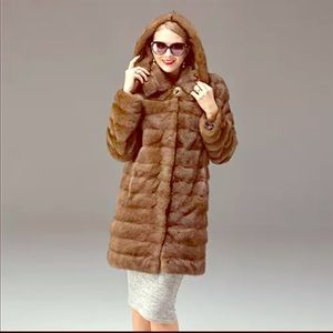 Jackets & Blazers - 2018 New Natural brown Mink convertible fur Coat
